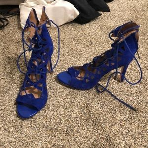 Brand new suede lace up heels